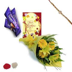 Rakhi with Lilies, Gerberas and card
