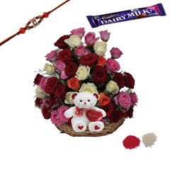 Rakhi with Basket of Flowers