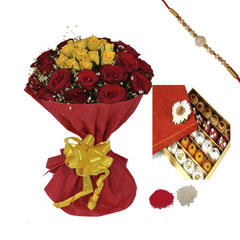 Rakhi with Red and Yellow Roses