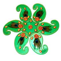 Green Acrylic Rangoli Sticker