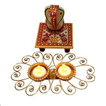 Marvel Ganesha with Electric Candle Stand