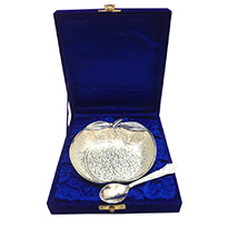 Silver Apple Shaped Bowl with Spoon