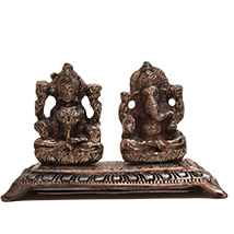 Metallic Laxmi Ganesha idol