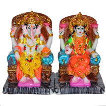Colourful Laxmi Ganesha statue