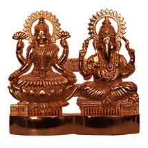 Golden metallic Laxmi Ganesha idols