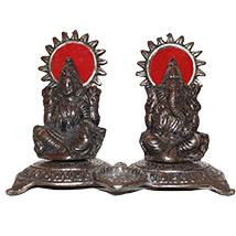 Silver Laxmi Ganesha statue