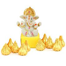 White Ganesha & Modak Chocolates