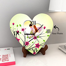 Heart Shaped Wooden Clock with Photo