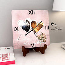 Square Wooden Clock with Two Photos