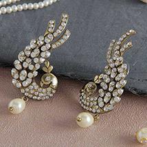 Sparkling Golden & White Peacock Earrings