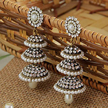 Jhumka Earring with Pearl and CZ Stone