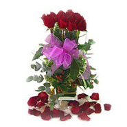 12 Roses in vase Arrangement-MAL