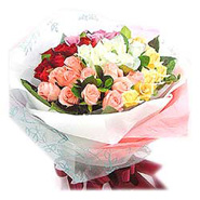 Bouquet of 36 Mixed Colours Roses-MAL