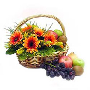 Fruit & Flowers Basket with Orange Gerberas-MAL