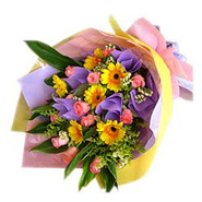 Bouquet of Yellow Gerberas & Pink Roses-MAL