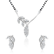 Mahi Rhodium Plated Shimmering Leaves Mangalsutra Set with CZ for Women