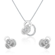 Mahi Rhodium Plated Round Petal Flower Pendant Set for Women