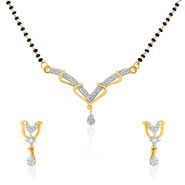 Mahi Gold Plated Tulips Mangalsutra Set with CZ for Women