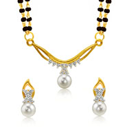 Mahi Gold Plated Princess Double Chain Mangalsutra Set with CZ & Pearl for Women