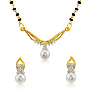 Mahi Gold Plated Princess Single Chain Mangalsutra Set with CZ & Pearl for Women