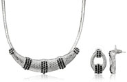 Mahi Rhodium Plated Black Choker Necklace Set Made with Swarovski Elements for Women