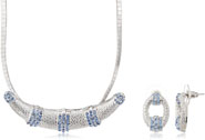 Mahi Rhodium Plated Blue Choker Necklace Set Made with Swarovski Elements for Women