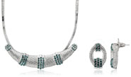 Mahi Rhodium Plated Green Choker Necklace Set Made with Swarovski Elements for Women