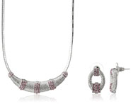 Mahi Rhodium Plated Pink Choker Necklace Set Made with Swarovski Elements for Women