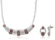 Mahi Rhodium Plated Red Choker Necklace Set Made with Swarovski Elements for Women