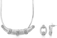 Mahi Rhodium Plated White Choker Necklace Set Made with Swarovski Elements for Women