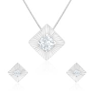 Mahi Rhodium plated Square Shine Pendant set Made with Swarovski Zirconia for Women