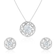 Mahi Rhodium Plated Round and Curves Pendant Set Made with Swarovski Zirconia for Women