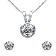 Mahi Rhodium Plated Solitaire Pendant Set Made with Swarovski Zirconia for Women