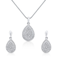 Oviya Mesmerizing Pear Pendant Set