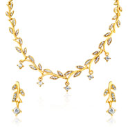 Oviya Gold plated Leafy Shine Necklace set for Women