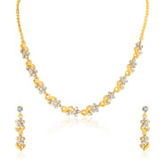 Oviya Gold plated Floral and leavy Crystal Necklace set for Women