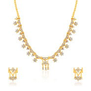 Oviya Gold plated Rich Intricacy white crystal Necklace set for Women