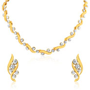 Oviya Gold plated Bold Crystal Curves Necklace set for Women