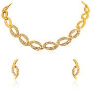 Oviya Gold plated Shimmering Crystal Curves Necklace set for Women