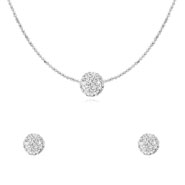 Oviya Rhodium Plated Mesmerizing Shine Pendant Set for Women