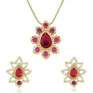 Mahi Gold plated Shimmering Austrian Crystal Pink and Red Dia Pendant set for Women