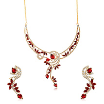 Oviya Gold Plated Red Floral Fantasy Necklace Set with Crystals for Women