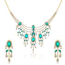 Oviya Gold Plated Oval Forest Green Necklace Set with Crystals for Women