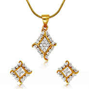 Mahi Gold Plated Barfi Pendant Set with CZ for Women