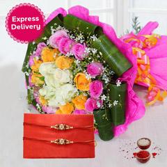 Flower & Rakhi Combo