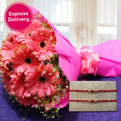 Pink Gerbera with Rakhis