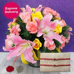 Flowery rakhi Hamper