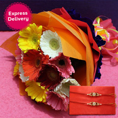 Colourful Gerberas N Rakhi