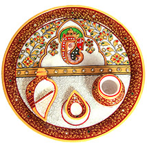 Traditional Meenakari Ganesh Pooja Plate
