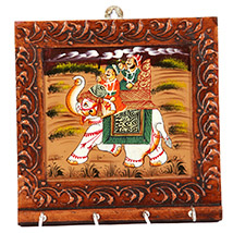 Elephant painted key holder square shaped